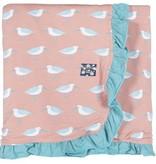 Kickee Pants Print Ruffle Stroller Blanket, Blush Sandpiper