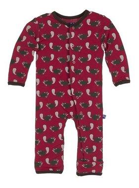 Kickee Pants Print Coverall, Crimson Busy Beaver