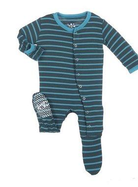 Kickee Pants Print Footie, Boy Tundra Stripe