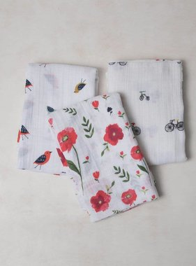 Little Unicorn UB0004 Coton Muslin Swaddle 3 pack Summer Poppy