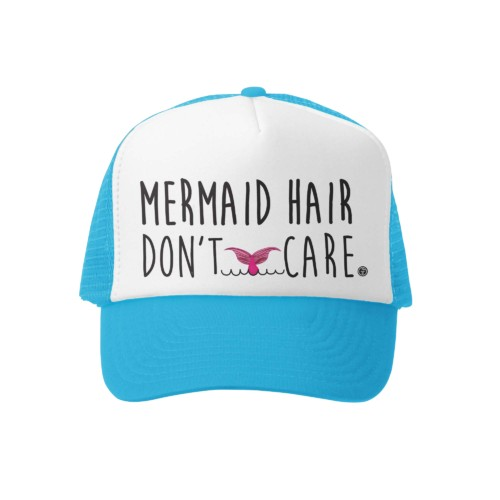 Grom Squad Mermaid Hair/Dont Care Trucker Hat Aq/Wh
