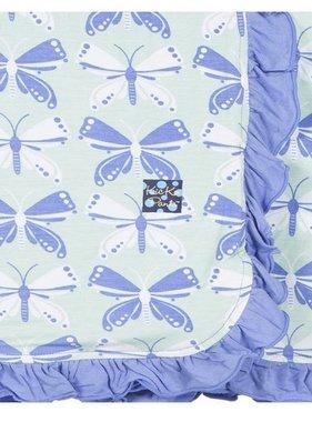 Kickee Pants Print Ruffle Stroller Blanket, Aloe Butterfly