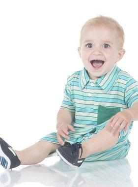 Kickee Pants Print S/S Polo Romper Boy Tropical Stripe
