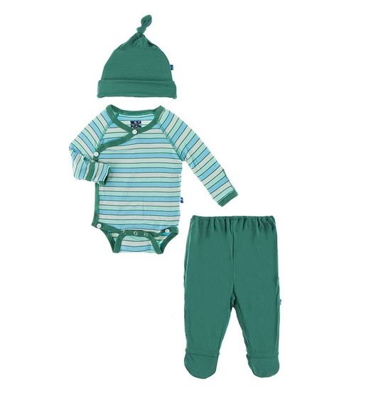 Kickee Pants Kimono Newborn Gift Set Boy Tropical Stripe