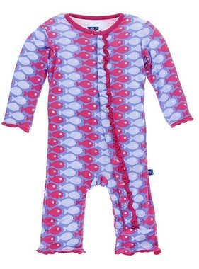 Kickee Pants Print Classic Layette Ruffle Coverall Forget Me Not Piranha