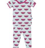 Kickee Pants Print S/S Pajama Set Watermelon