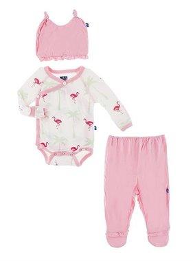 Kickee Pants RUffle Kimono Newborn Gift Set Nat Flamingo