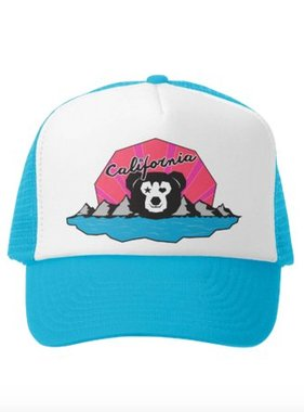 Grom Squad Trucker Hat Cali Bear Girl Aqu/White