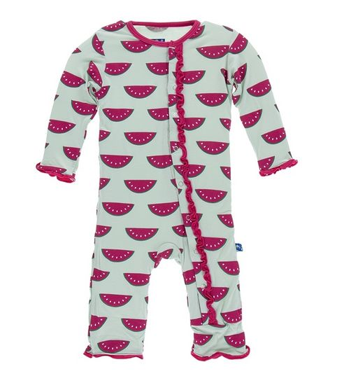 Kickee Pants Print Classic Layette Ruffle Coverall-Watermelon
