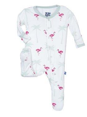Kickee Pants Print Footie-Natural Flamingo