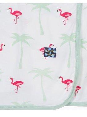 Kickee Pants Print Ruffle Stroller Blanket -Natural Flamingo