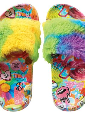 Iscream 735-028 Psych Collage Faux Fur Slides