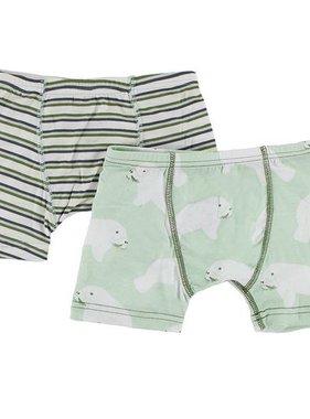 Kickee Pants Boxer Briefs Set of 2 Boy Freshwater Stripe/Aloe Man