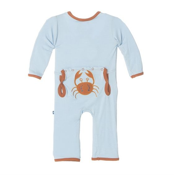 Kickee Pants Fitted Applique Coverall-Pond Crabby