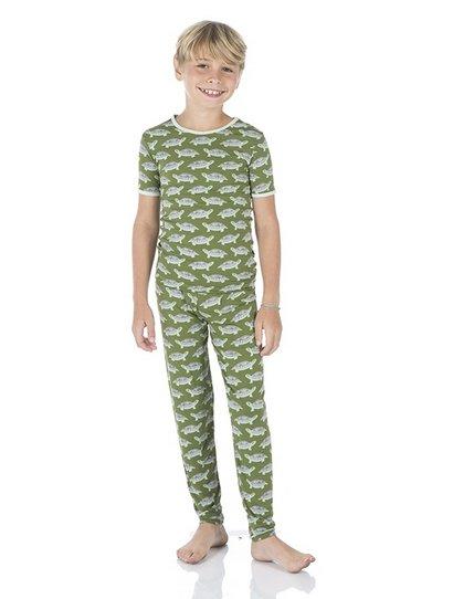 Kickee Pants Print SS PJ Set Moss Turtle