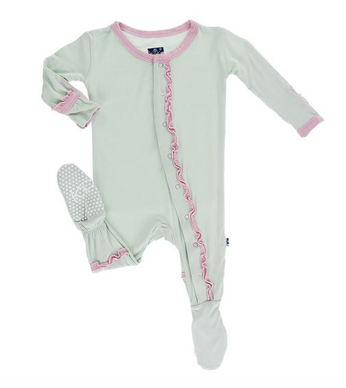 Kickee Pants Solid Muffin Ruffle Coverall Aloe w Lotus