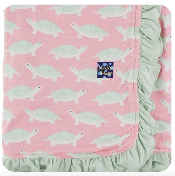 Kickee Pants Print Ruffle Stroller Blanket Lotus Turtle