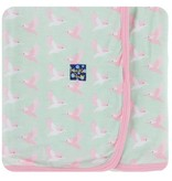 Kickee Pants Print Swaddling Blanket, Aloe Kingfisher