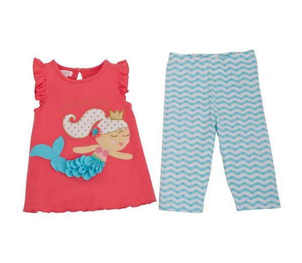Mud Pie 1112328 Mermaid Tunic Capri Set