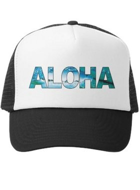Grom Squad Aloha Boys Trucker Hat, Black/White