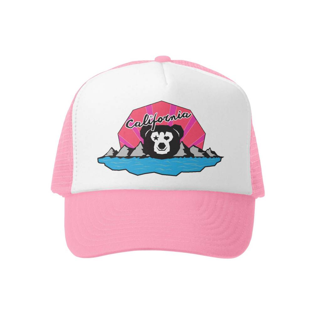 Grom Squad Cali Bear Girl Trucker Hat, Pink/White