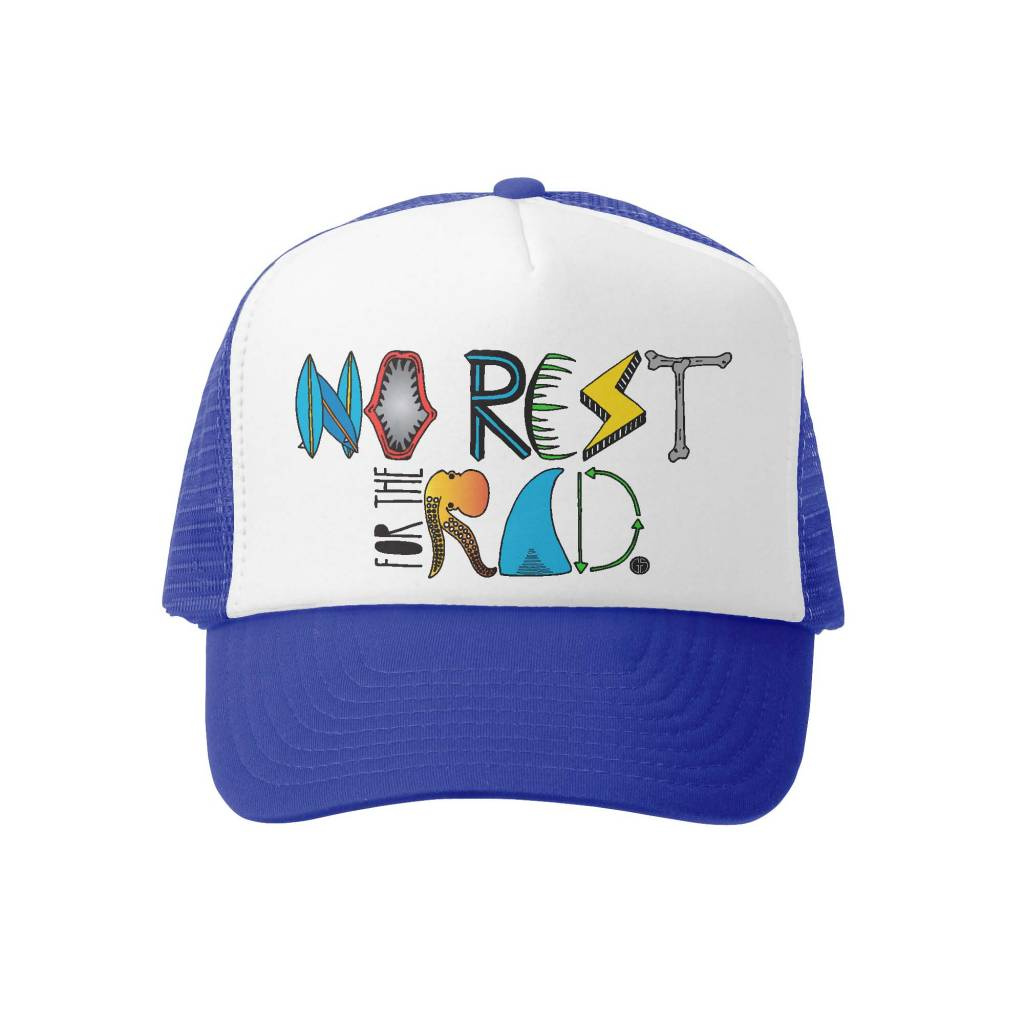 Grom Squad Trucker Hat-No Rest for the Rad Ryl/Wht