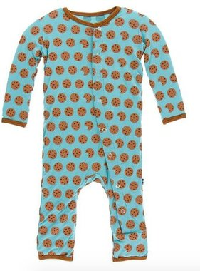Kickee Pants Print Coverall Snaps Glacier Cookie