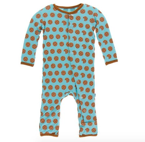 Kickee Pants Print Coverall Snaps Glacier Cookie