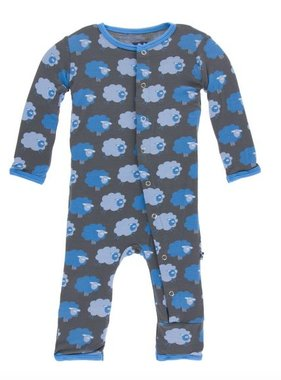Kickee Pants Print Coverall Snaps, Stone Sheep