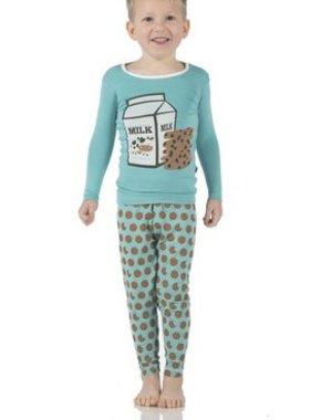 Kickee Pants Print LS PJ Set Glacier Cookie