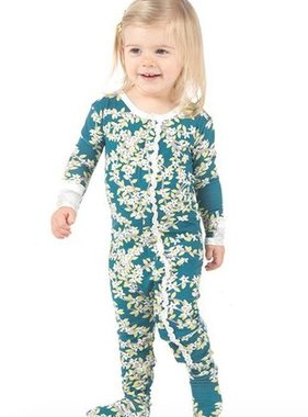 Kickee Pants Print Muffin Ruffle Footie Snaps Peacock Tree Conopy