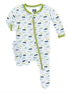 Kickee Pants Print Footie ZIPPER Boy Dino