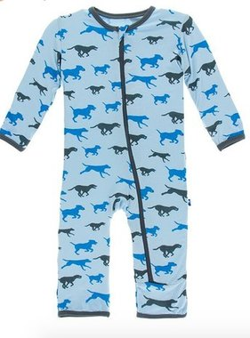 Kickee Pants Print Coverall ZIPPER Pond Running Labs