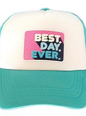 Chibella Best Day Ever Trucker Hat Turq/White