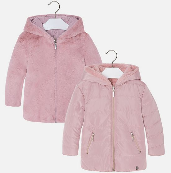 Mayoral 4471 62 Reversible Fur Jacket Light Rose
