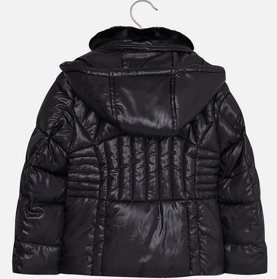 Mayoral 7491-10 Jacket w Fur Neck, Black