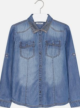 Mayoral 7119 05 Tacked Denim Blouse