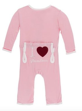 Kickee Pants Holiday Layette Applique Coverall I love Grandma Lotus