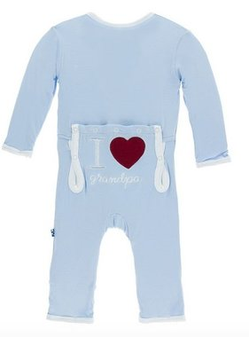 Kickee Pants Holiday Applique Coverall I love Grandpa Pond