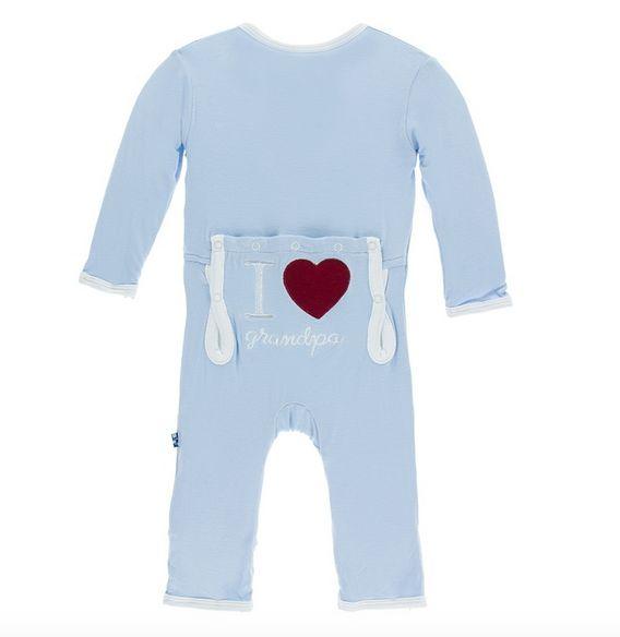 Kickee Pants Holiday Applique Coverall I love Grandpa Pond