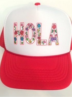 Chibella Hola Trucker Hat, Wht/Red