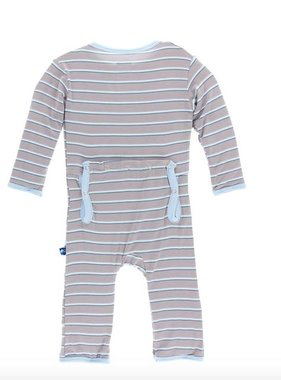 Kickee Pants Print Coverall Snaps Boy Parisian Stripe