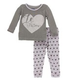 Kickee Pants Print LS PJ Set, Feather Hearts