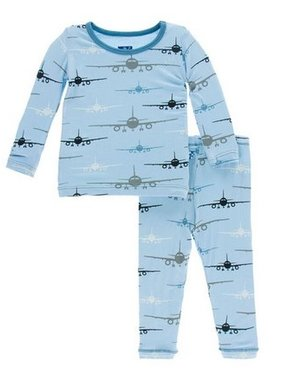 Kickee Pants Print LS PJ Set, Pond Airplane