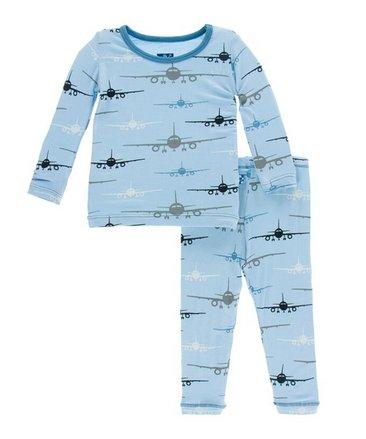 Kickee Pants Print LS PJ Set, Pond Airplane