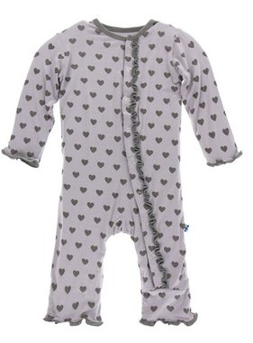 Kickee Pants Print Muffin Ruffle Coverall Snaps, Feather Hearts