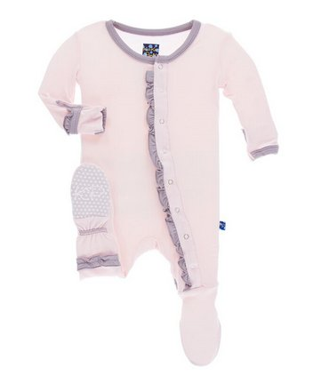 Kickee Pants Solid Muffin Ruffle Footie Snaps Macaroon/Feather