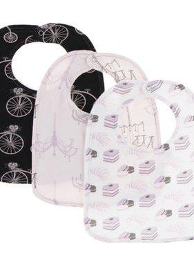 Kickee Pants Bib Set of 3, Girl Midnight Bike/Macaroon