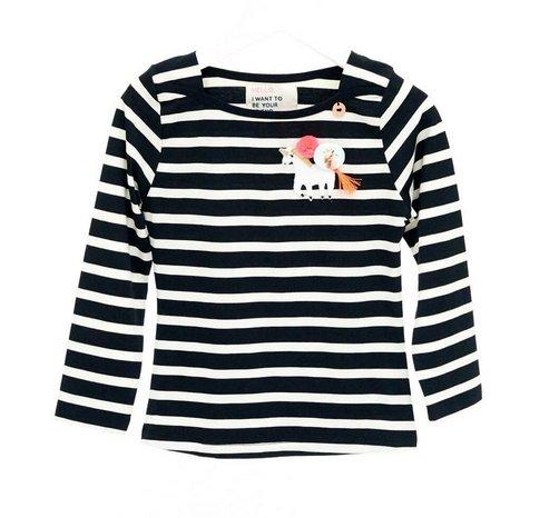 Mimpi Clothing 676-MIM Striped Unicorn Tee, Black & White