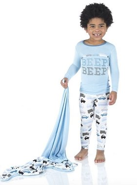 Kickee Pants Print L/S Pajama Set Nat Cars & Trucks